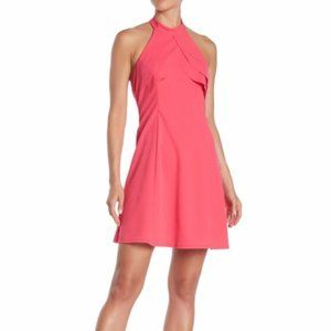 BEBE Ruffle Halter Dress Hot Pink Sleeveless Tank